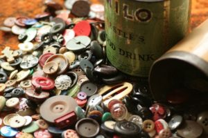 buttons, button tin, sewing